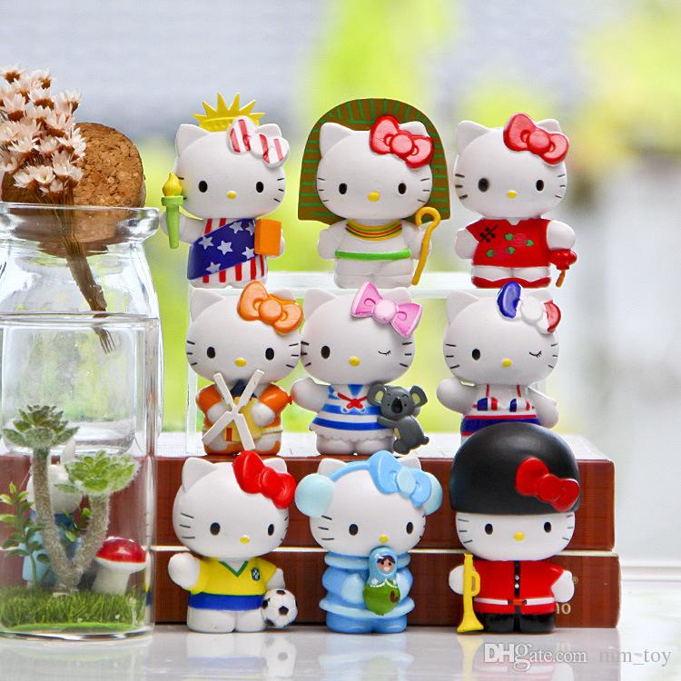 9Pcs/Set 5cm Classic Limited Edition Travel the World Toy Figure Collection Gifts for Kids DIY Micro Landscape Decoration Props Dolls