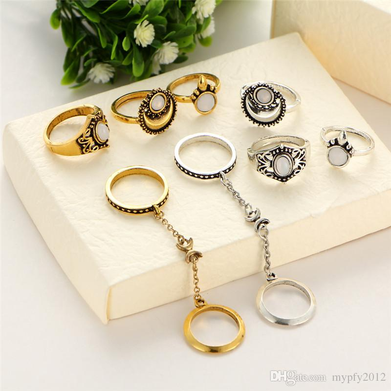 Новый Boho кулака кольца для женщин Девушки старинные серебряные золотые 5 шт. / компл. Midi палец кольца наборы опал кольцо ювелирные изделия партии подарки Гц