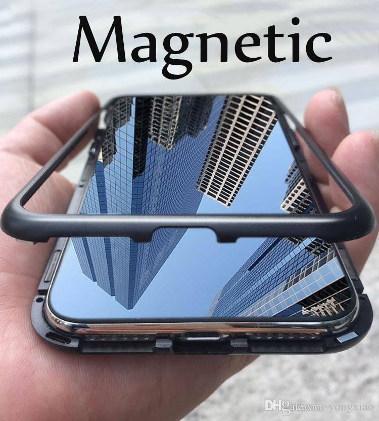 separation shoes e09fd ee761 Built-in Magnet Case for iPhone X 8 7 Plus Clear Tempered Glass Back Cover  Magnetic Aluminum Metal Adsorption Bumper Shockproof