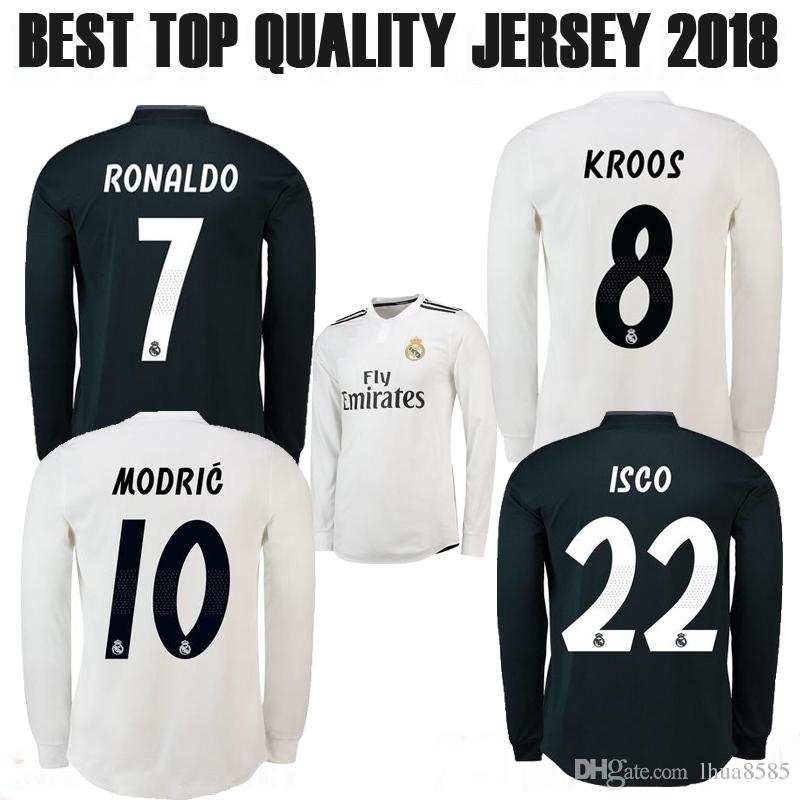 87502e4f9 2019 18 19 Real Madrid Long Sleeve Home Soccer Jerseys ASENSIO RONALDO BALE  MODRIC SERGIO RAMOS KROOS Hazard 2018 Madrid Away 3RD Football Shirt From  ...