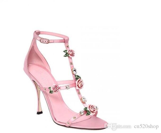 3d Alto Bombas Satén Noche 2018 Elegantes Fiesta Rivet Las Estilo Diamond Pink Rose Nuevo Shoes Tacón Seda Sandalias Mujeres De XZiPuTwkO