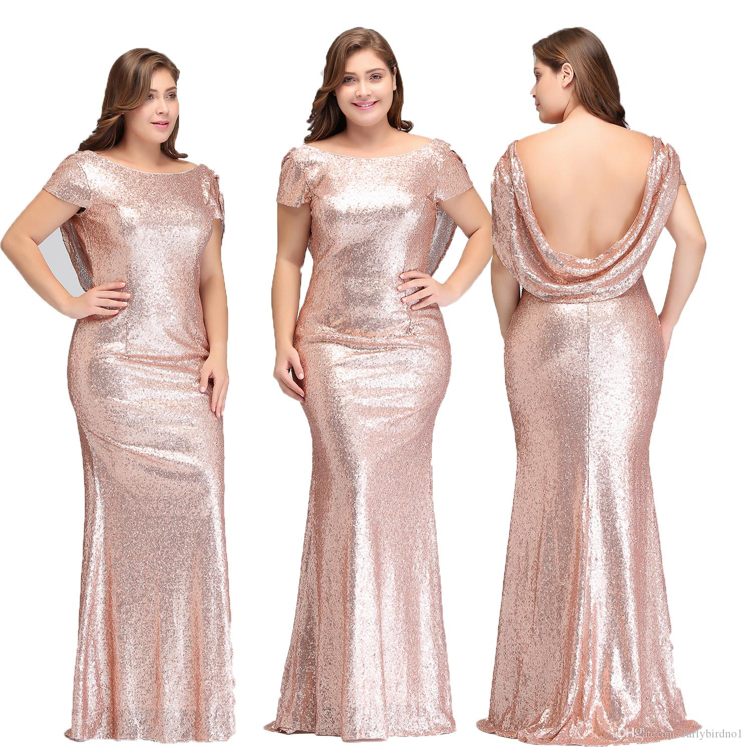 Designer Rose Gold Sequins Bridesmaid Dresses Capped Short Sleeves Sexy  Backless Scoop Neck Formal Evening Gowns Plus Size Prom Dress 344 Bridal  Party ... 659278d825af