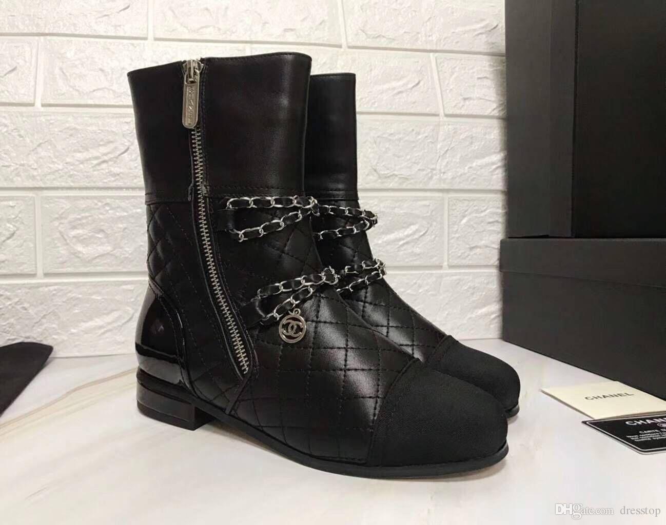 separation shoes a573d 104cd C C Marke Retro Ultra Stiefeletten Leder Damen Designer Schuhe Beste  Qualität Stiefel Für Damen Herbst Winter Stiefel Plus Größe Echt Bild