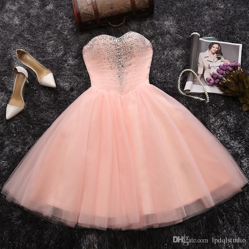 Robes de bal rose Robes de soirée courtes Plis Tulle Ball Gown Robes de bal Shining Paillettes Perles Lace-up Retour Noir Robe de bal