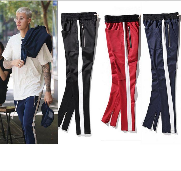 2018 Fashion Design Fear of God Side Zipper Sports Pants Justin Bieber FOG Jogger Running Trousers Hip Hop Sweatpants Causual Pants