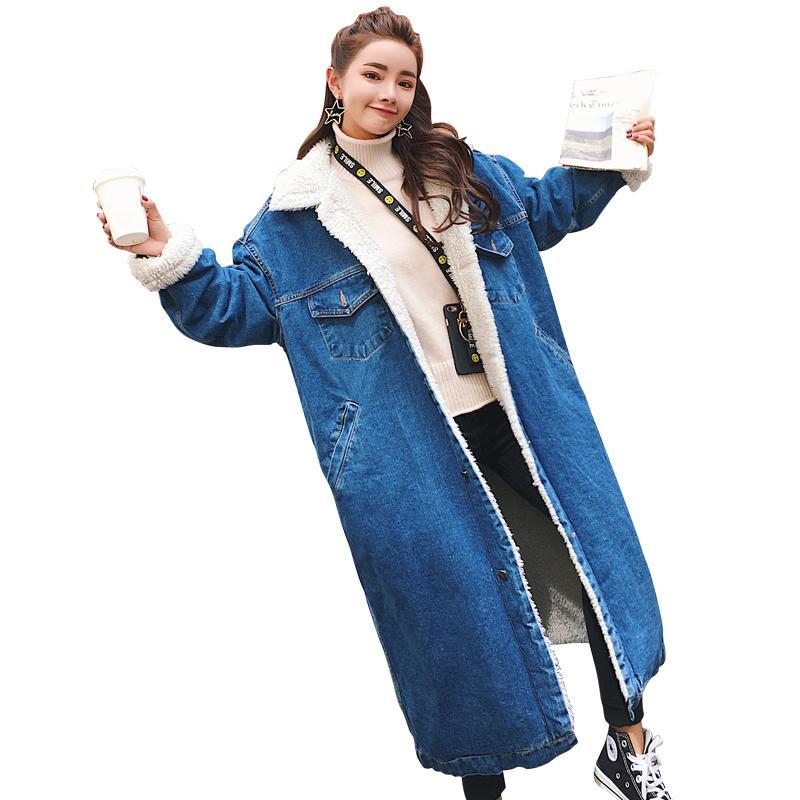 716c27a67d9 2018 New Autumn Winter Warm Denim Coat Thick Lambs Wool Denim Jacket Female  Plus Cotton Velvet Jacket Wide Long Paragraph Jackets Sale Black Leather  Bomber ...