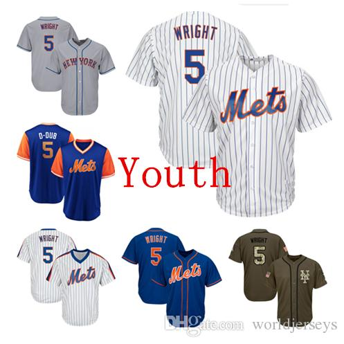 8d9ab779840 Youth Kids Child Mets 5 David Wright Baseball Jersey Blue White Gray ...
