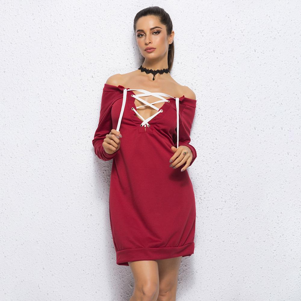 8e7cf843938d Acquista Wine Red New Autumn Long Donna Felpa Felpe Con Cappuccio 2019  Coulisse Lace Up Slash Neck Manica Lunga Pullover Maglione Casual Tops A   27.12 Dal ...