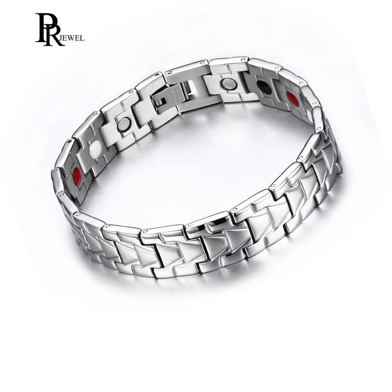 Elegant Men's Magnetic Therapy Bracelet with 4 Elements Pain Relief for Arthritis and Carpal Tunnel with Free Gift Box