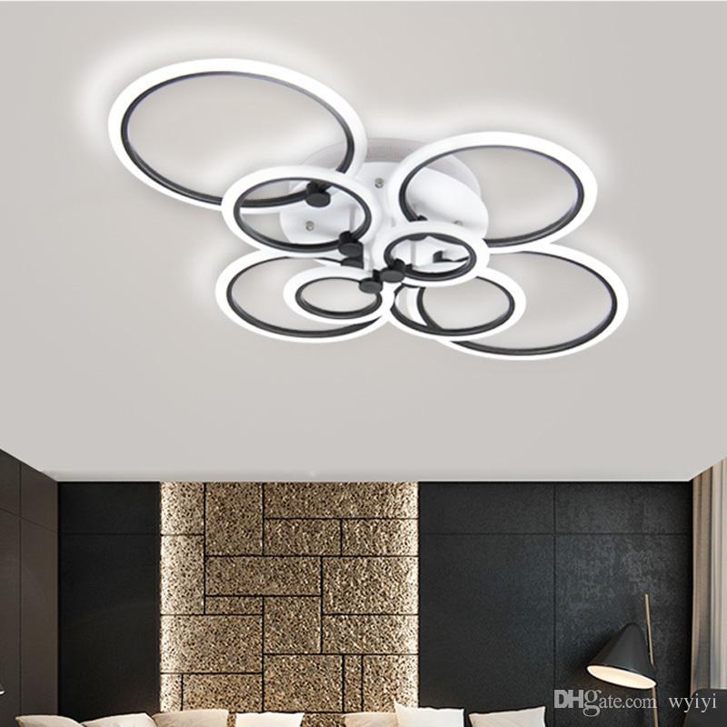 Anillos negros Modernos LED luces de la lámpara Living Comedor Dormitorio  Decoración del hogar Círculos Acrílico Iluminación Lampara De Techo