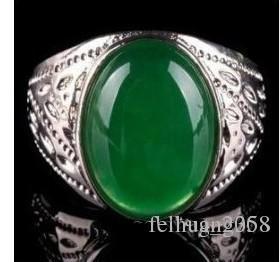 Wholesale cheap beautiful tibet silver green jade men's ring size 8#9#10#11# /