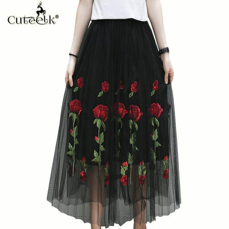 8ef5d53510 2019 Wholesale 2017 Vintage Tulle Skirt Summer Pleated Skirts Floral  Embroidery Mesh Tutu Skirt High Waist Fold Slim Women Midi Skirt Black From  Huoxiang, ...