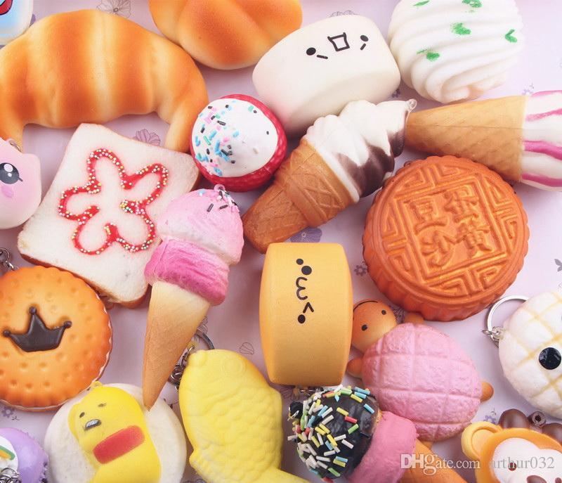 Kawaii Cute Squishies Bun Toast Rilakkuma Donut Bread for Cell Phone Bag Charm Straps Mixed Rare Squishy Slow Rising Lanyard Scent