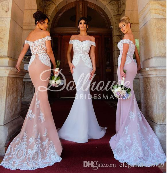 Nuevo diseño del hombro de la sirena de largas vestidos de dama de apliques de encaje sin espalda vestido de boda Ráfagas dama de honor Vestidos de encargo