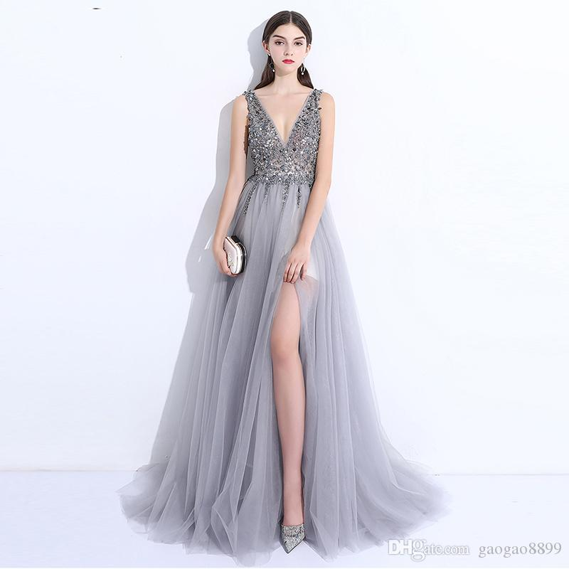 5b7845eab6 2018 Chic Split Side A Line Prom Dresses Silver Major Beading Sexy V Neck  Long Backless Formal Evening Gowns Cheap Red Carpet Celebri Short Strapless  Prom ...