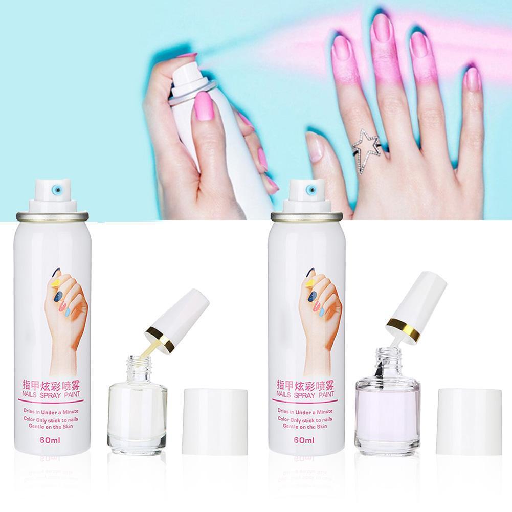 60ml 6Colors Manicure Nail Polish Spray Base Coat Fast Drying Spraying Easy  Washing Nail Spray Art Manicure Tool