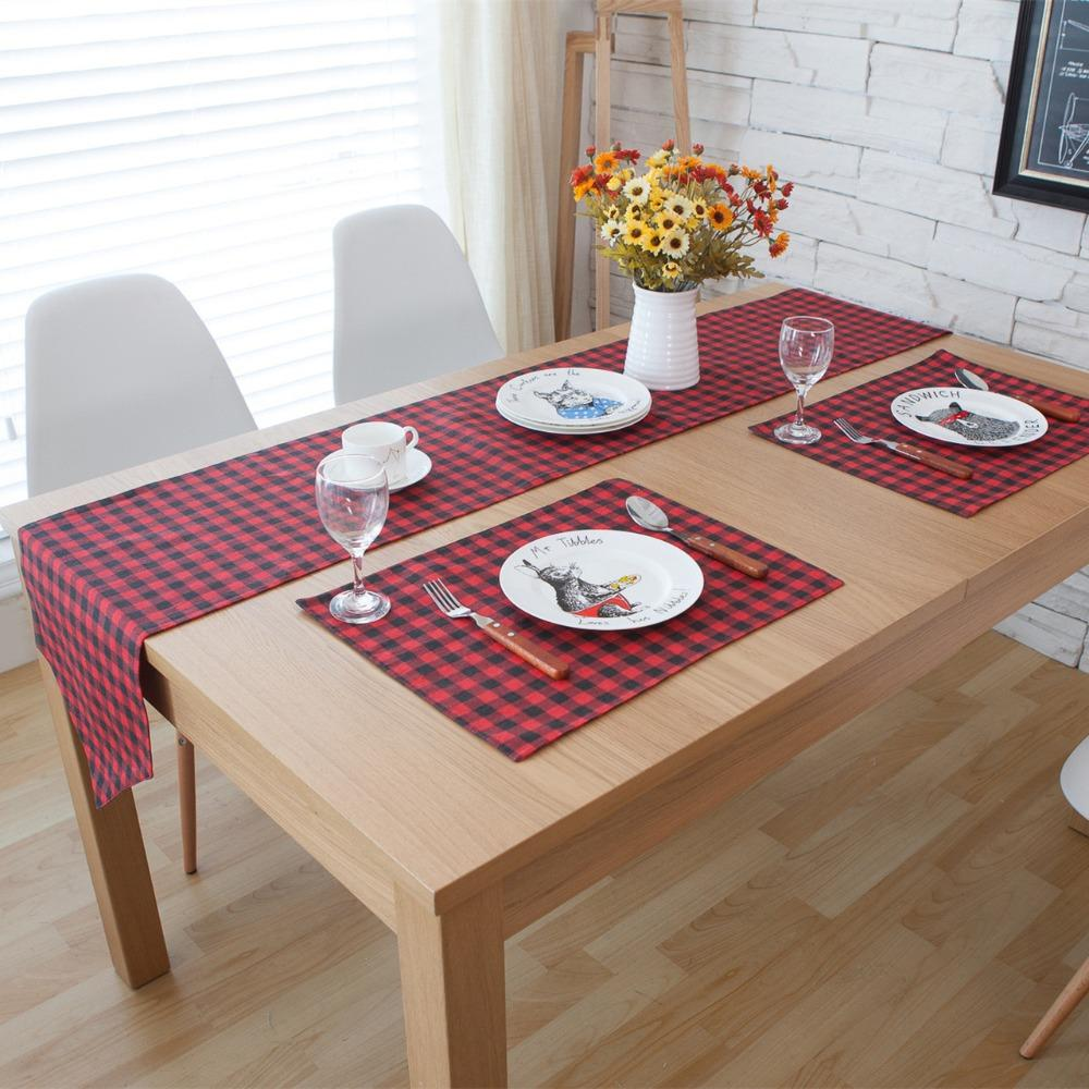 3 5 Linen Cotton Red Plaid Table Runner And Placemat Sets Table