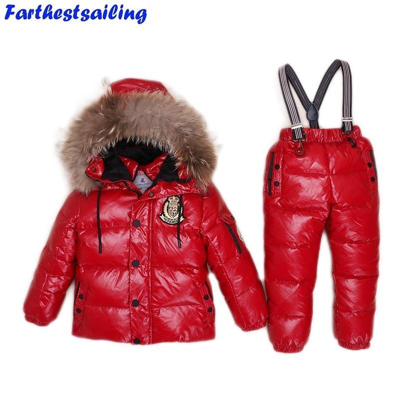 f7801cc8c8e54 Acheter 30Degrees Russie Hiver Ski Jumpsuit Vêtements Enfants Garçons  Filles Costume De Sport Enfants Neige Porter Des Vestes Manteaux Bib  Pantalon ...