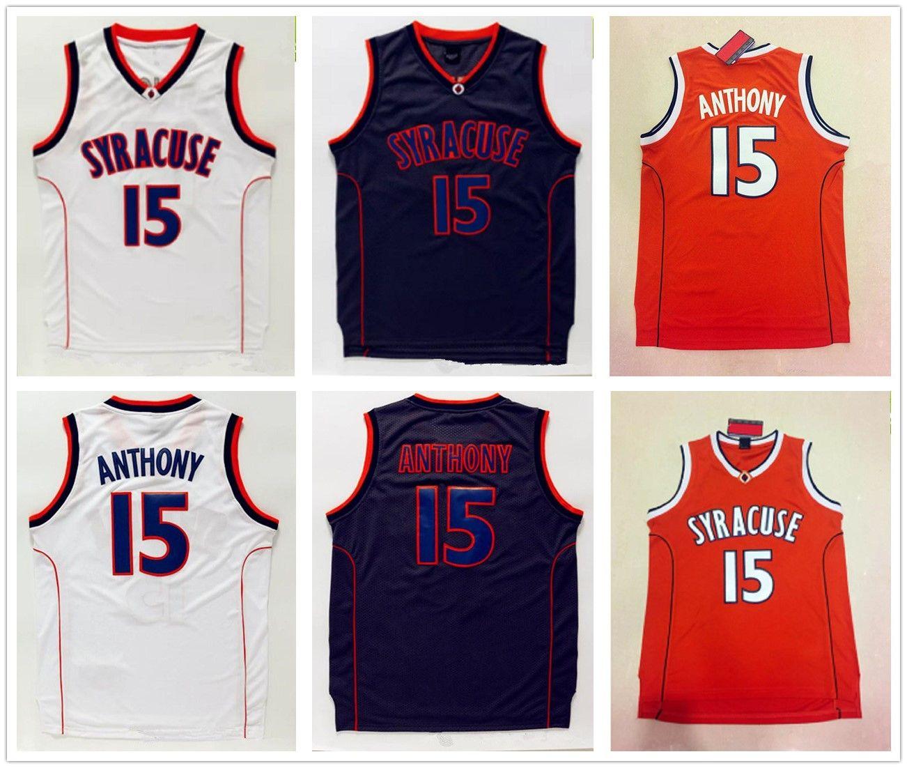 c8a33d26b Men's Syracuse Orange 15# Carmelo Anthony College Basketball Jerseys Orange  Black White 7# Carmelo Anthony Navy White Blue Jersey Shorts