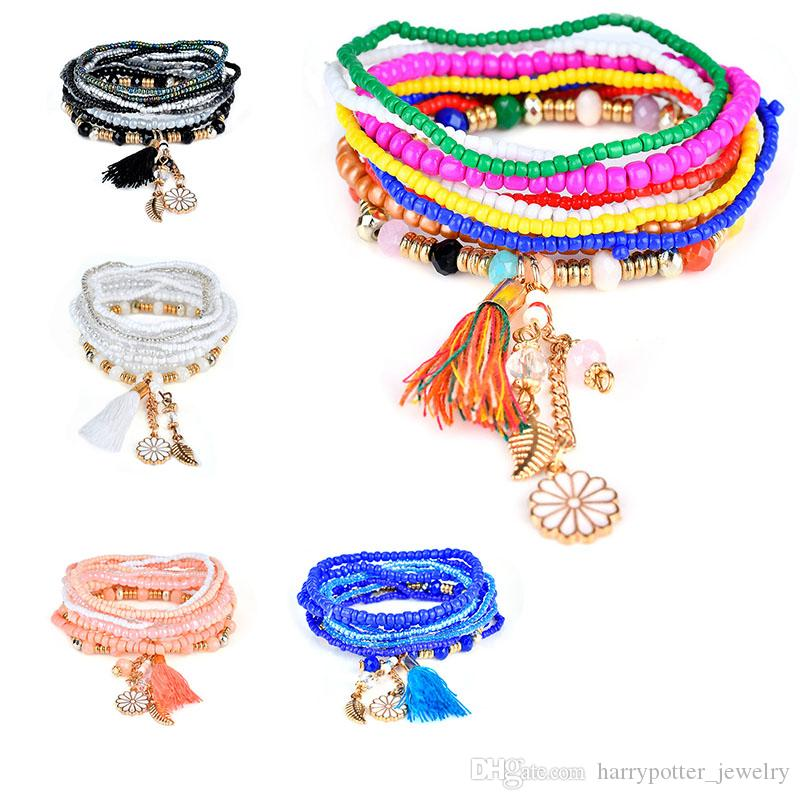 Friendly Elastic Multilayer Tassel Beads Bohemian Style Clover Bracelets Bangles For Women Ladies Jewelry Gifts Strand Bracelets Jewelry & Accessories