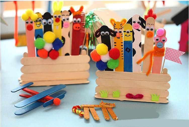 fai da te originale artigianato in legno bastoni bastoncini di ghiaccioli bastoncini di gelato decorazioni feste in legno