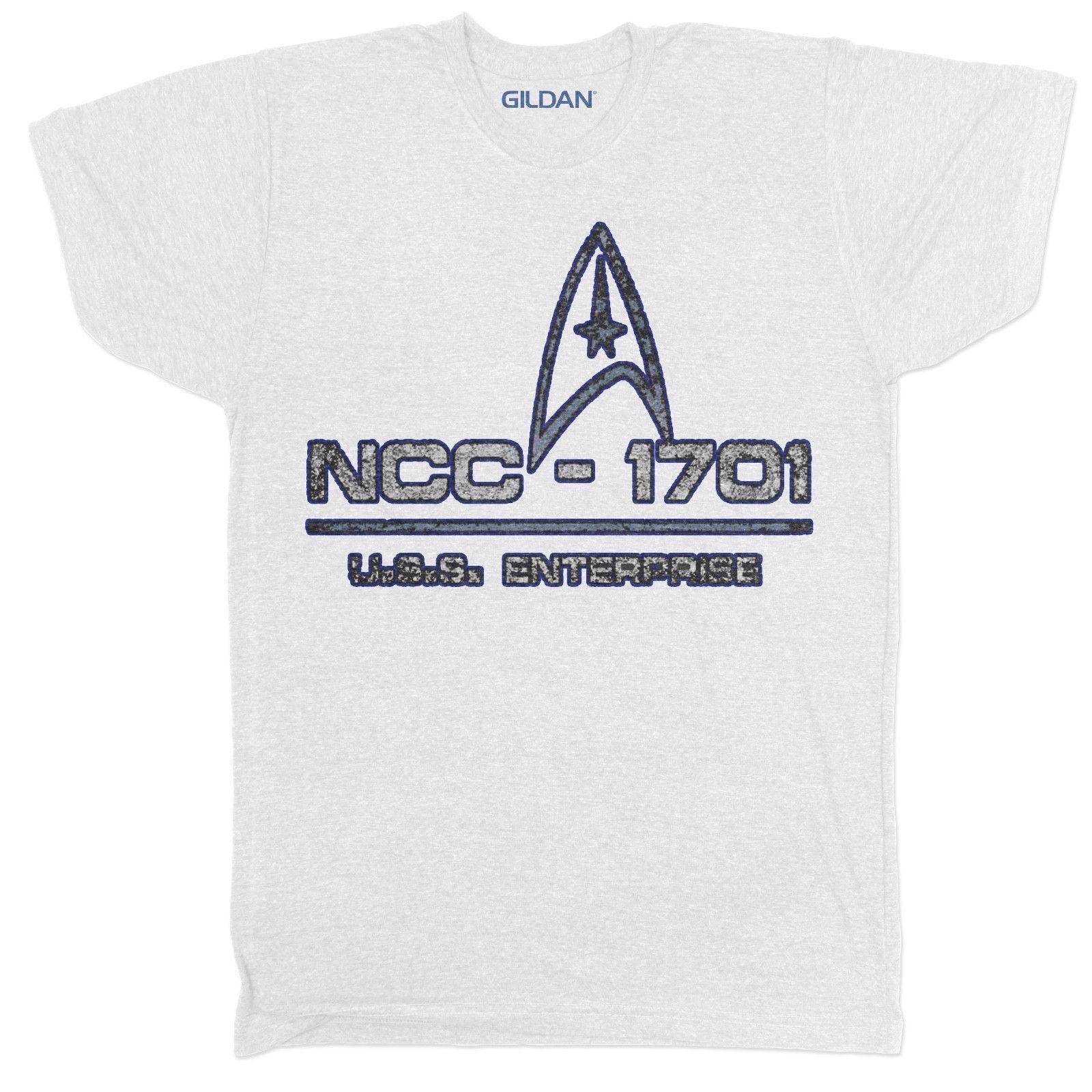 fbdfa166 NCC 1701 USS ENTERPRISE STAR TREK SCI FI KIRK SPOCK RETRO MOVIE TV FILM T  SHIRT Men's Clothing T-Shirts Tees Men Hot Cheap