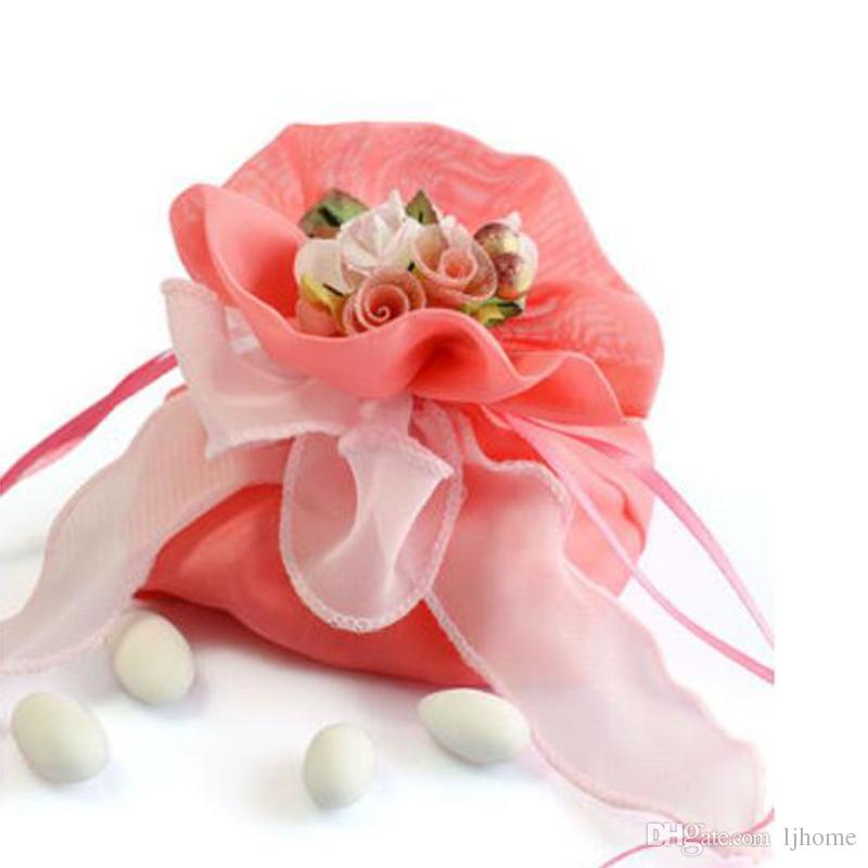 Pink Favor Candy Bags With Ribbon Fashion Fabrics Exquisite Flowers Romantic Wedding Candy Bags Gift Boxes Candy Boxes