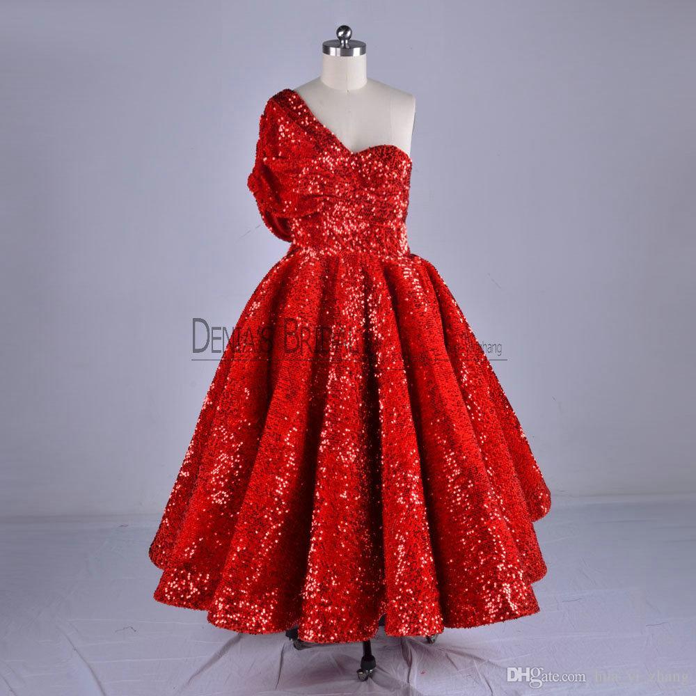 2018 бальное платье Пром платья с одним плечом чай длина блестками бархат пухлые арабские короткие вечерние платья