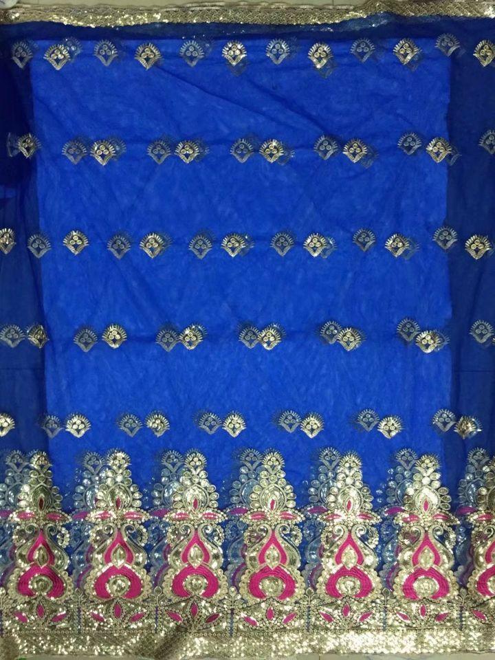 5 yardas Nueva moda azul real tela de encaje de George de África con lentejuelas de oro y 2 yardas de encaje neto para ropa JG18-4