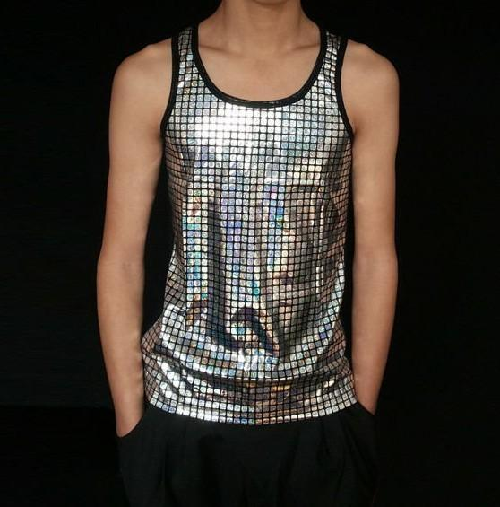 1fe0b5ef0929b 2019 Wholesale Wholesale New Arrival Casual Men Tank Tops Sequined Fashion  Cotton Mens Tanks Hiphop Show Tees Stage Wear L