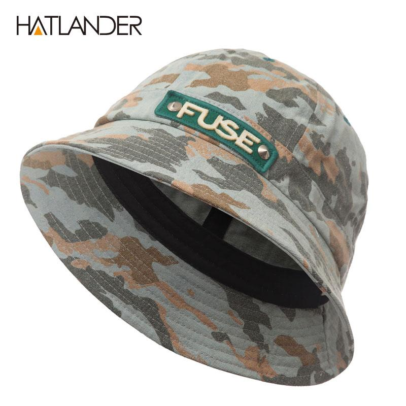 9a055a319 [HATLANDER]Outdoor Fishing Bucket Hats for Men Panama Women Autumn Summer  Beach Sun Hat Hip Hop Cap Sports Camo Cotton Hat
