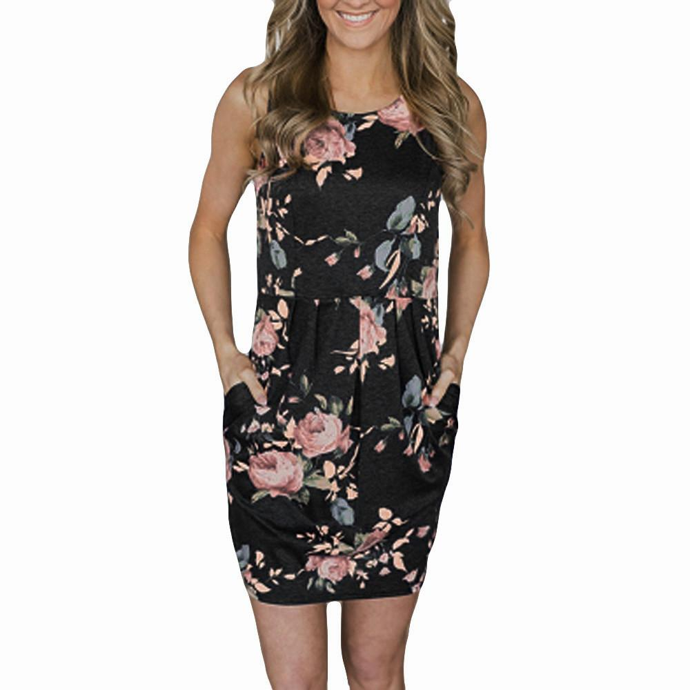 ec8989935d6 Womail New Floral Printed Summer Dress Women S Casual Dresses Sleeveless  Pockets Mini Dresses Plus Size S XL Sundress 20.JULY.22 Women Dress  Collection ...