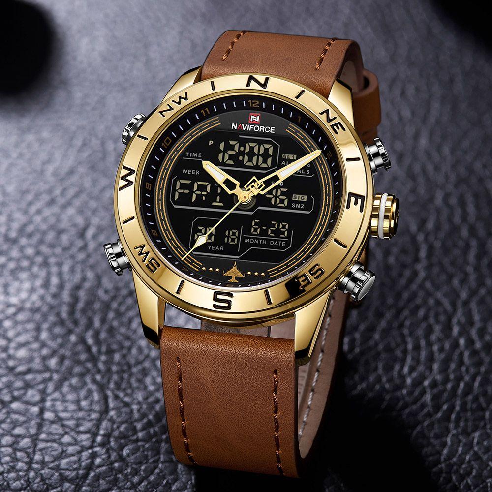NAVIFORCE 9144 Fashion Gold Men Sport Watches Mens LED ...
