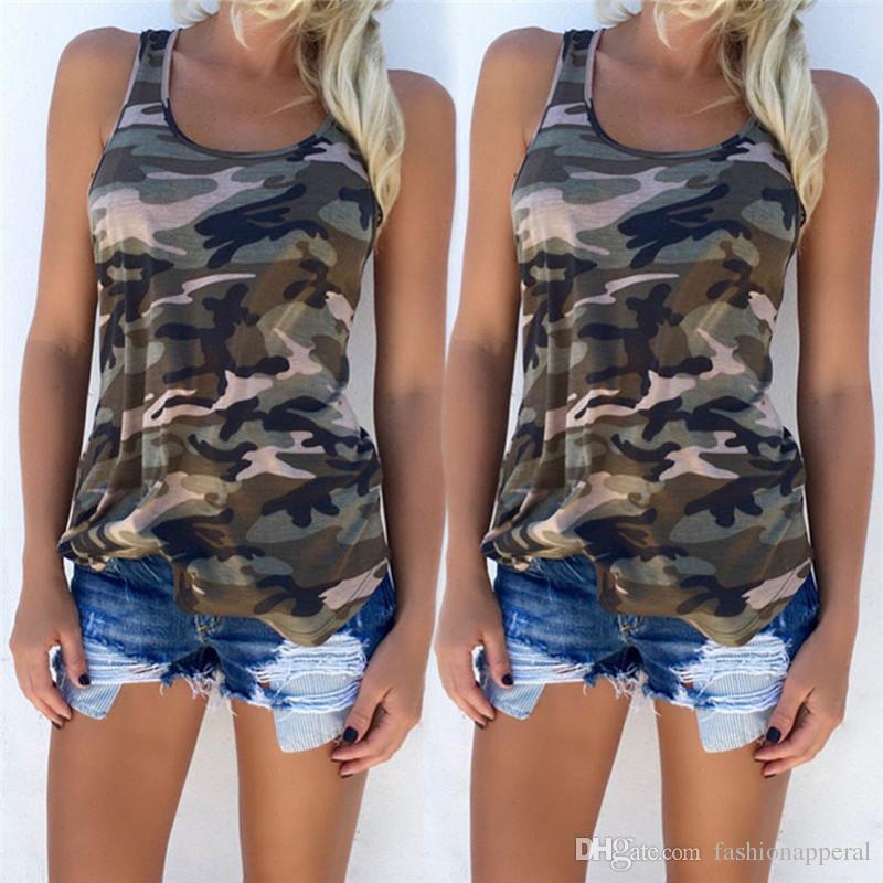 c4d3c068b82 Womens Fashion T Shirts 2018 New Camouflage Sleeveless Vest Tees ...