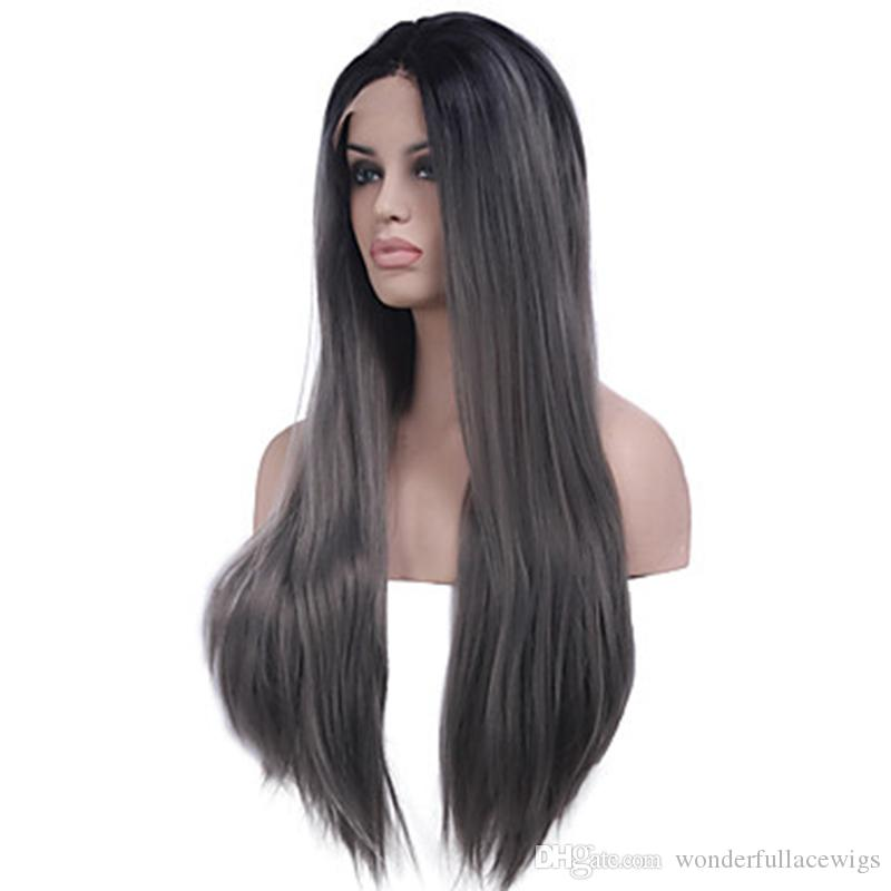 Cheap Long 2 Tones Synthetic Lace Front Wig Gray Grey Silver Ombre Hand Tied Silky Straight Wigs Dark Roots Heat Resistant Fiber Hair