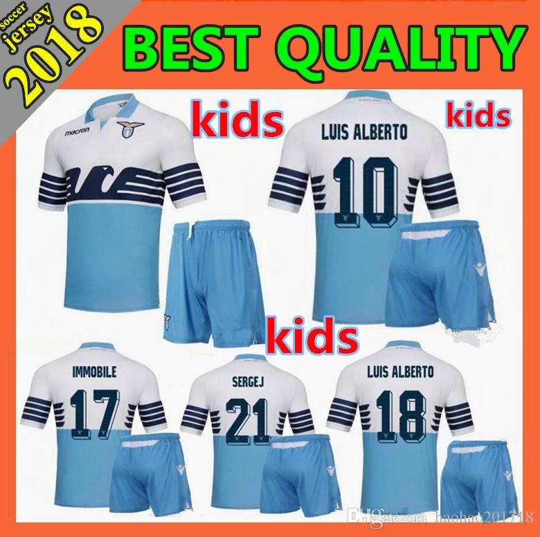 7fe13d45a95 Kids Kit 2018 Lazio Soccer Jerseys Home Away 18 19 F.ANDERSON LUCAS ...