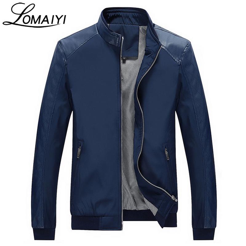 LOMAIYI YENI 2018 Bahar erkek Patchwork Deri Ceketler Erkekler Sonbahar Slim Fit İş Ceket Mens 5XL Siyah PU Rahat Ceket, BM158