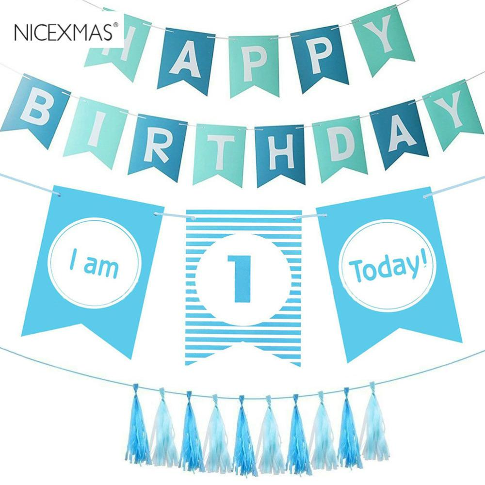 Wholesale 1st Happy Birthday Decorations Party Supplies Bunting Banners Garland Set Holiday