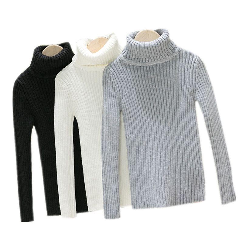 Kids Teenager Boys Turtleneck Solid Gray White Black Pullover