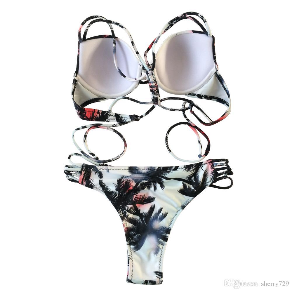 Women's Two Pieces Bathing Suits 2018 Summer Printed Push-up Padded Bra Bandage Bikini Set Swimsuit Triangle Swimwear Bandage Monokini