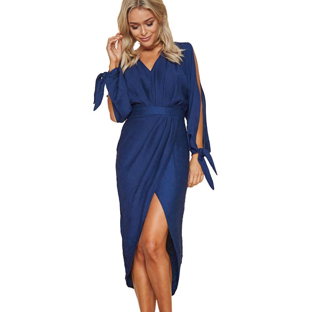 aea05f53c88f Ladies s Long Sleeve Blue Dress 2018 Fashion V-Neck Irregular Dresses Women  Summer Evening Party Boho Long Dress Vestidos Mujer Vestidos Mujer  Irregular ...