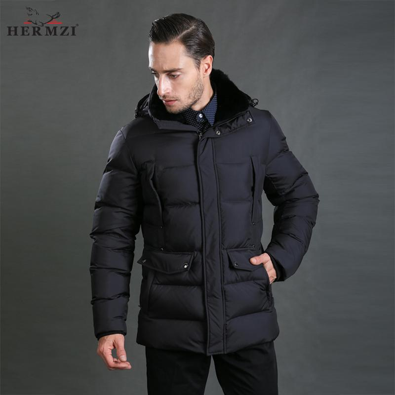 ce2c94008 2019 HERMZI 2017 New Winter Jackets Men Padded Jacket Coat Cotton Black Winter  Coat Rex Rabbit Fur Collar European Size From Houmian, $185.42 | DHgate.Com