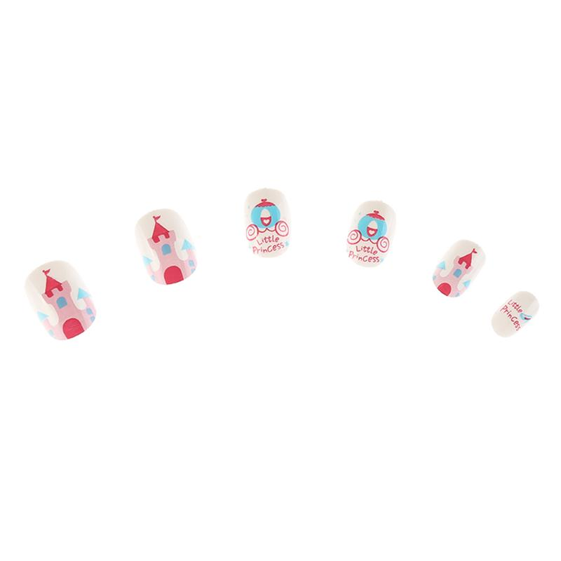 Free Shipping 6 Boxes MJE Cartoon Cute Pink False Children Nails Tips Print Long nails Art For Kids Professional Tips Stickers