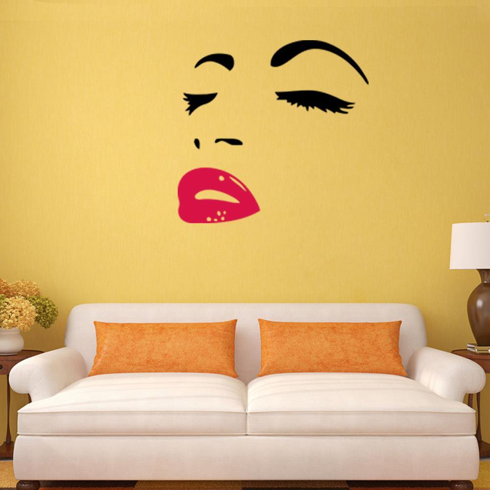 * HOT movie star marilyn monroe red sexy lips carved living room bedroom background wall sticker waterproof removable fans gift