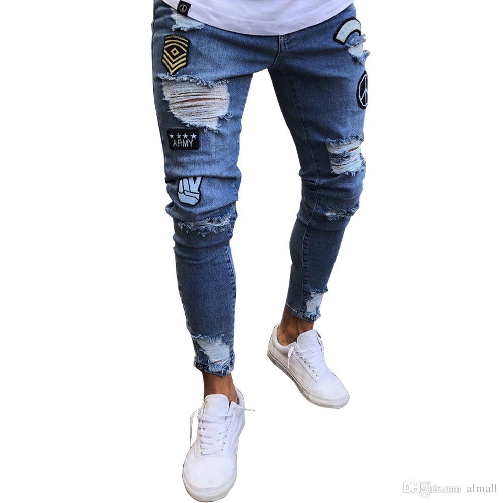 riesiges Inventar toller Rabatt für große Auswahl von 2019 Männer Hip Hop Destroyed Jeans Slim Fit Jeans Biker Stil Denim Hosen  Gestickte Gerade Hosen