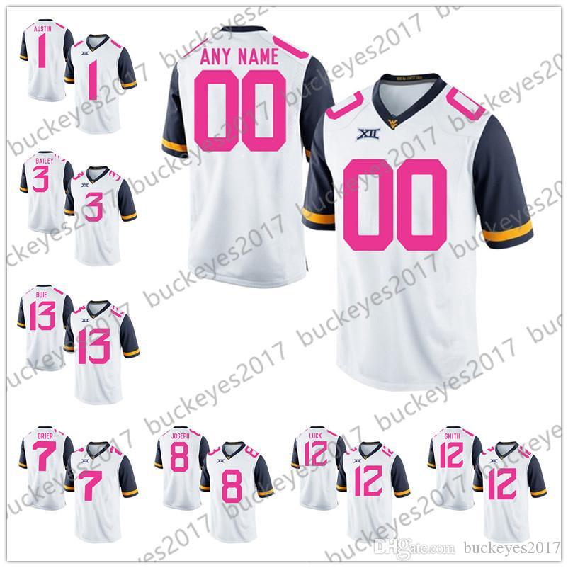 e00708c9934 Custom West Virginia Mountaineers 2018 Mother Days White Pink ...