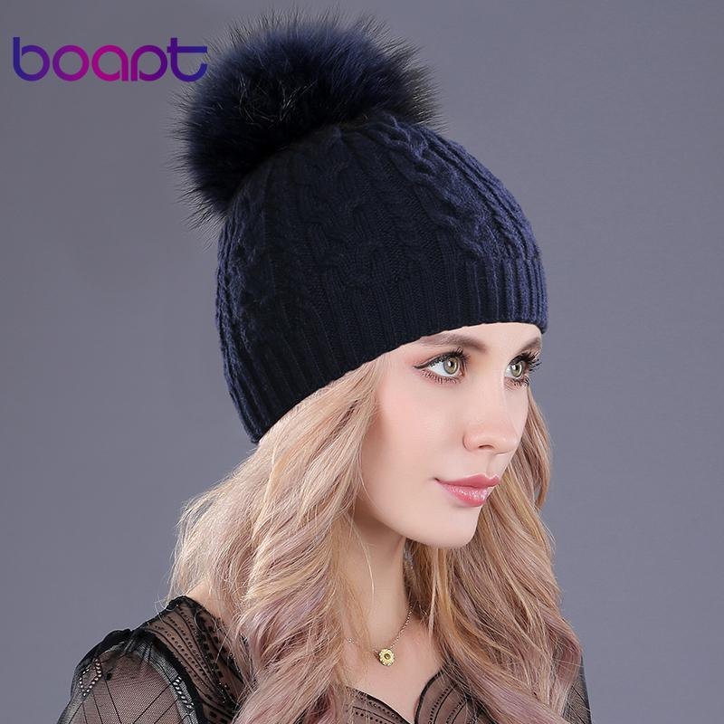 0e923251d3b boapt Cashmere Soft Thick Warm Double Deck Twist Knit Caps Hats For Women S  Winter Genuine Raccoon Fur Pompons Ladies Beanie D18110102 Fitted Hats  Straw ...