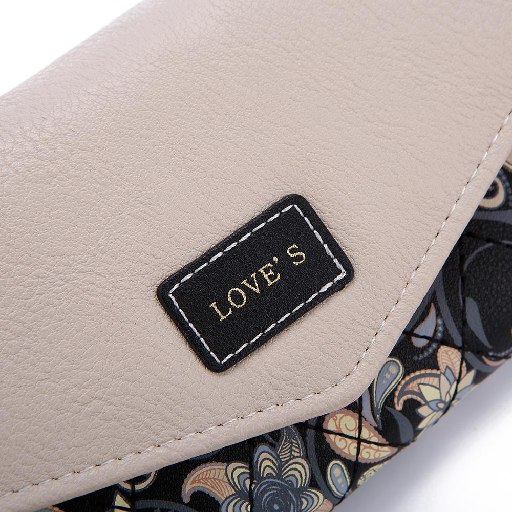 DUDINI Hot Sale Envelope Women Wallet Hit Color 3Fold Flowers Printing PU Leather Wallet Long Ladies Clutch Coin Purse