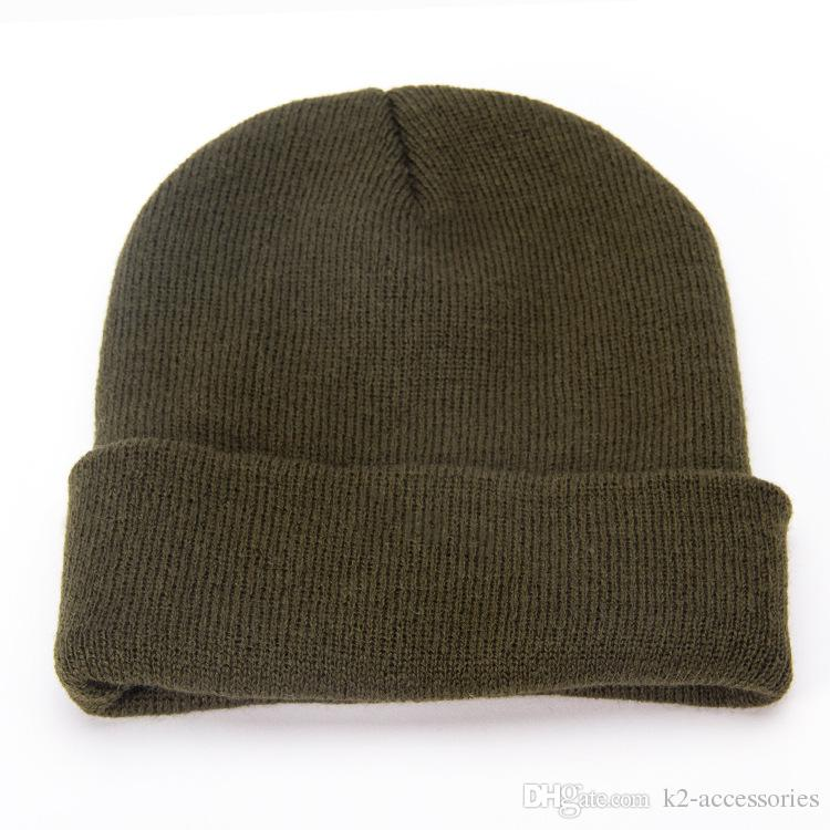 78d58cbed9043b HOT Women Men New Winter Solid Color Plain Beanie Knit Ski Cap Skull Hat  Warm Cuff Blank Beany Slouch Beanie Ski Hats From K2 Accessories, $2.52|  DHgate.Com
