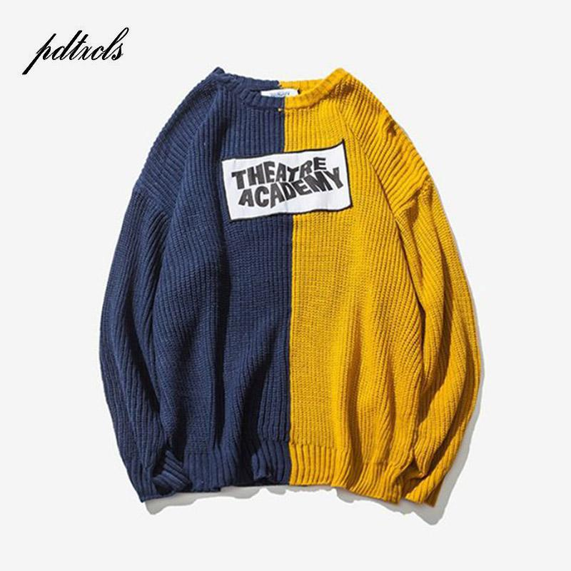 048e0a0307 New Color Block Patchwork Knit Sweaters Mens 2018 Hip Hop Winter ...